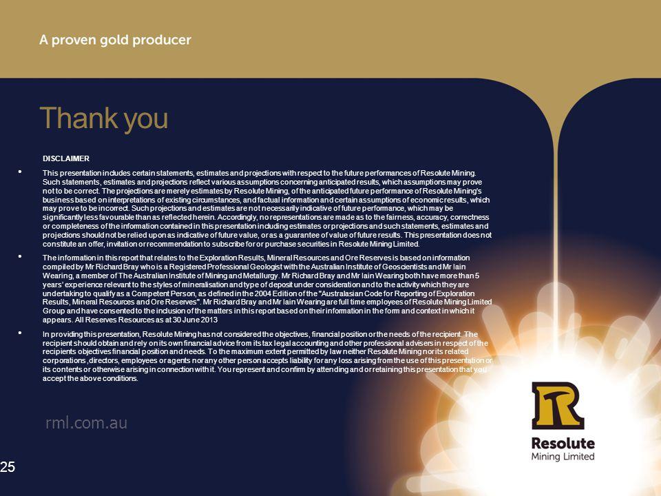 Thank you rml.com.au DISCLAIMER