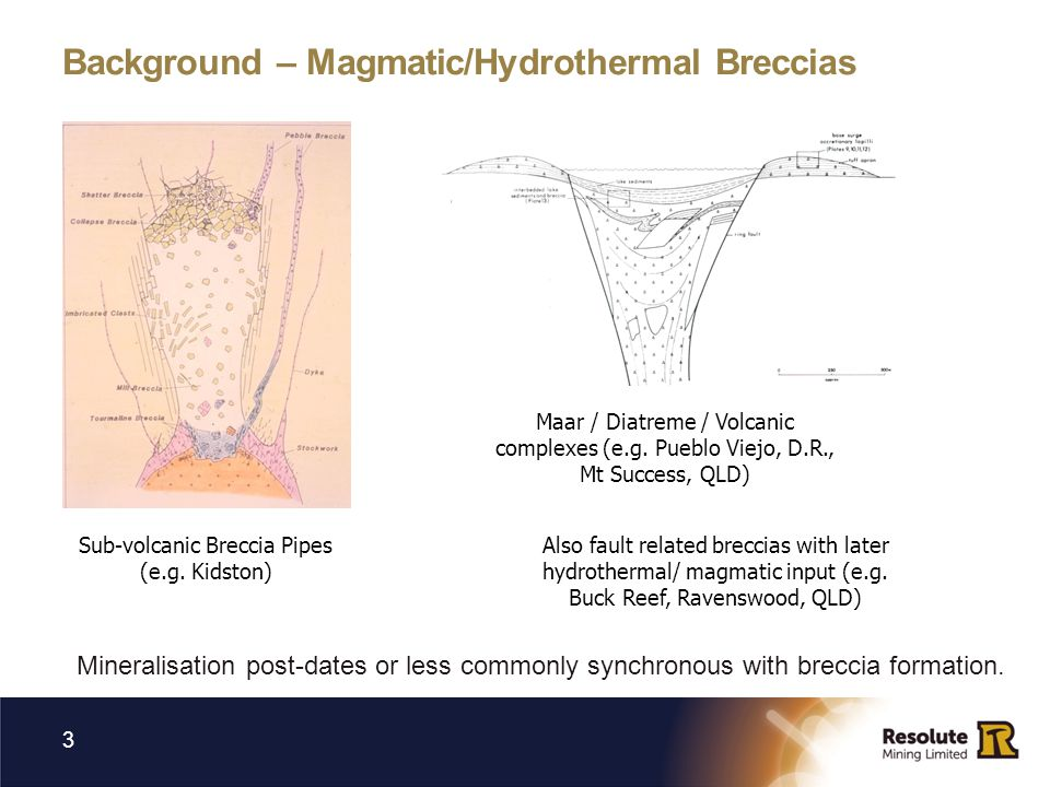 Background – Magmatic/Hydrothermal Breccias