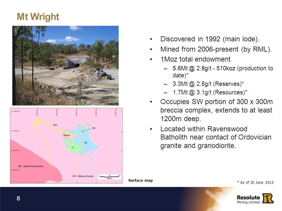 Mt Wright Discovered in 1992 (main lode).