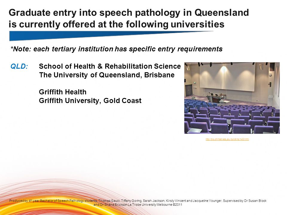 Graduate entry into speech pathology in Queensland is currently offered at the following universities