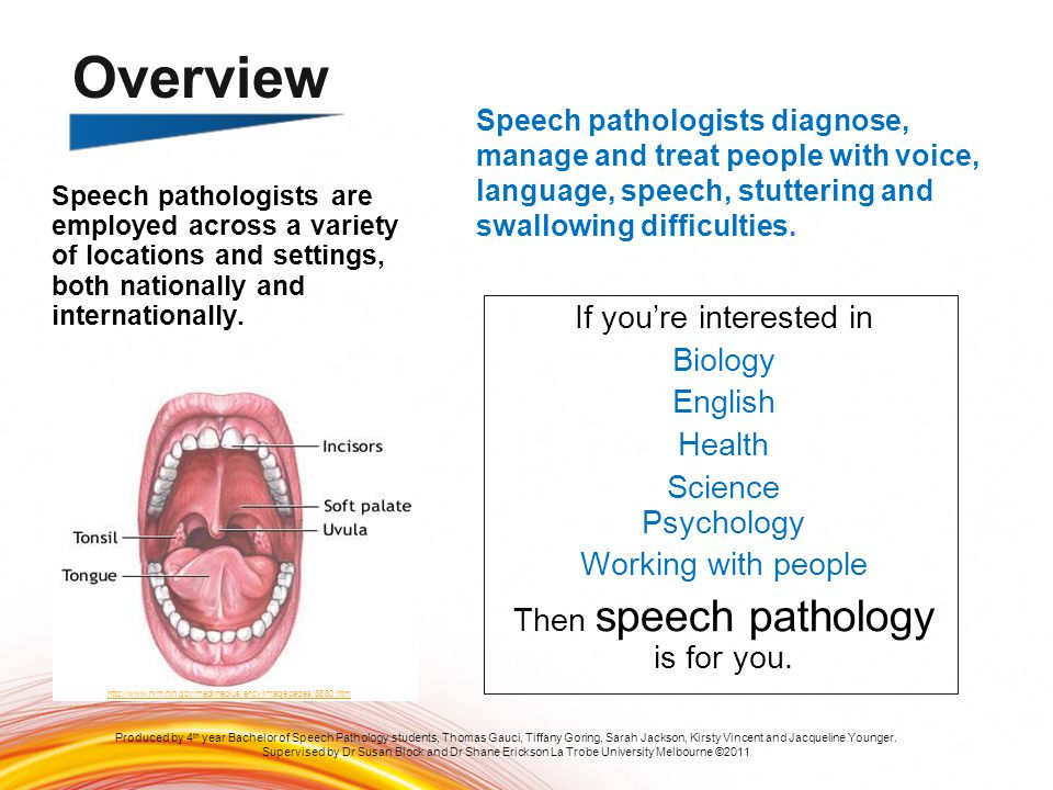 Overview Speech pathologists diagnose, manage and treat people with voice, language, speech, stuttering and swallowing difficulties.