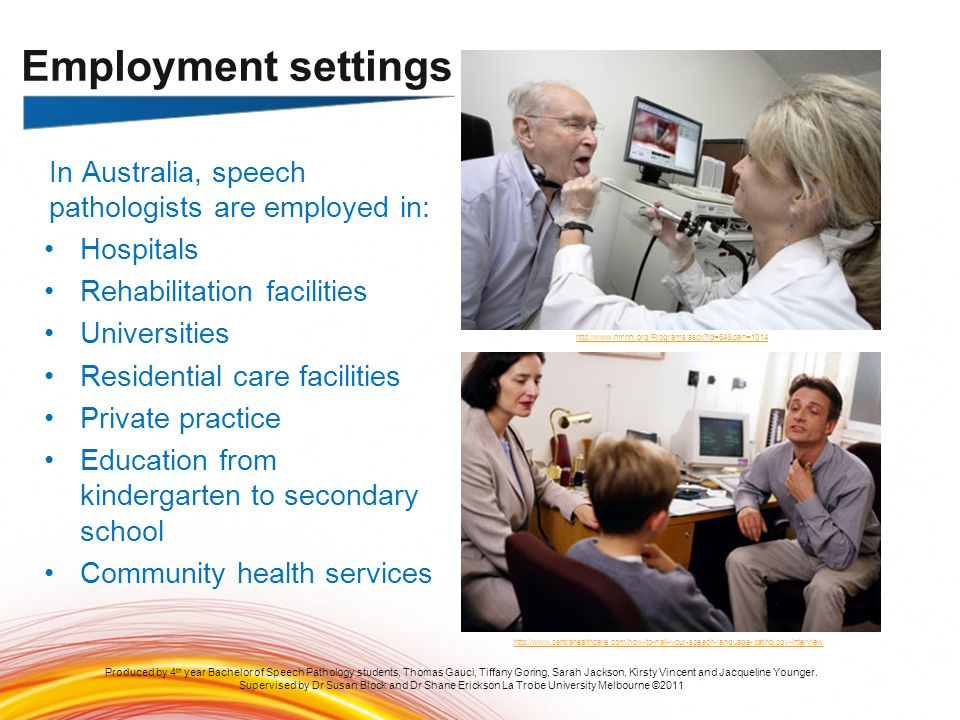 Employment settings In Australia, speech pathologists are employed in: