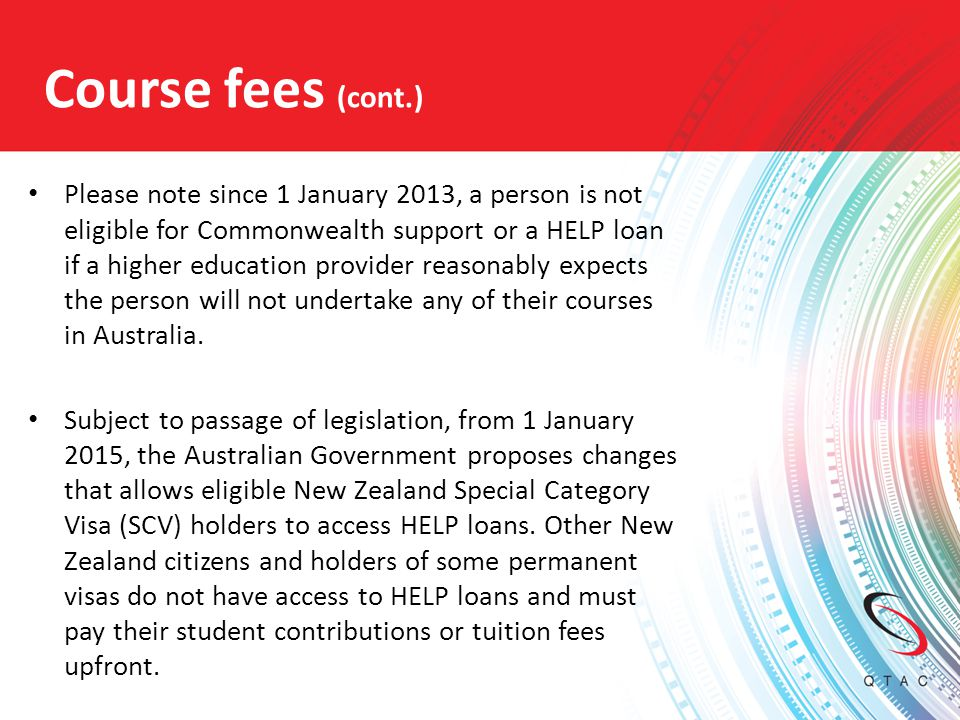 Course fees (cont.)