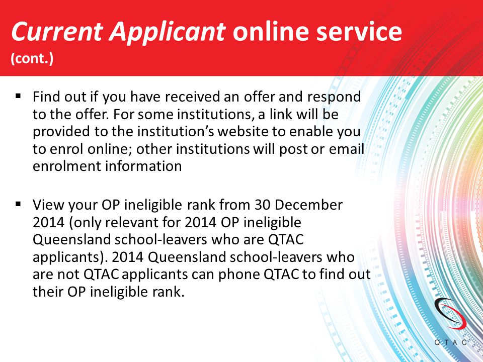 Current Applicant online service (cont.)