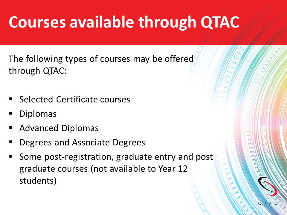 Courses available through QTAC