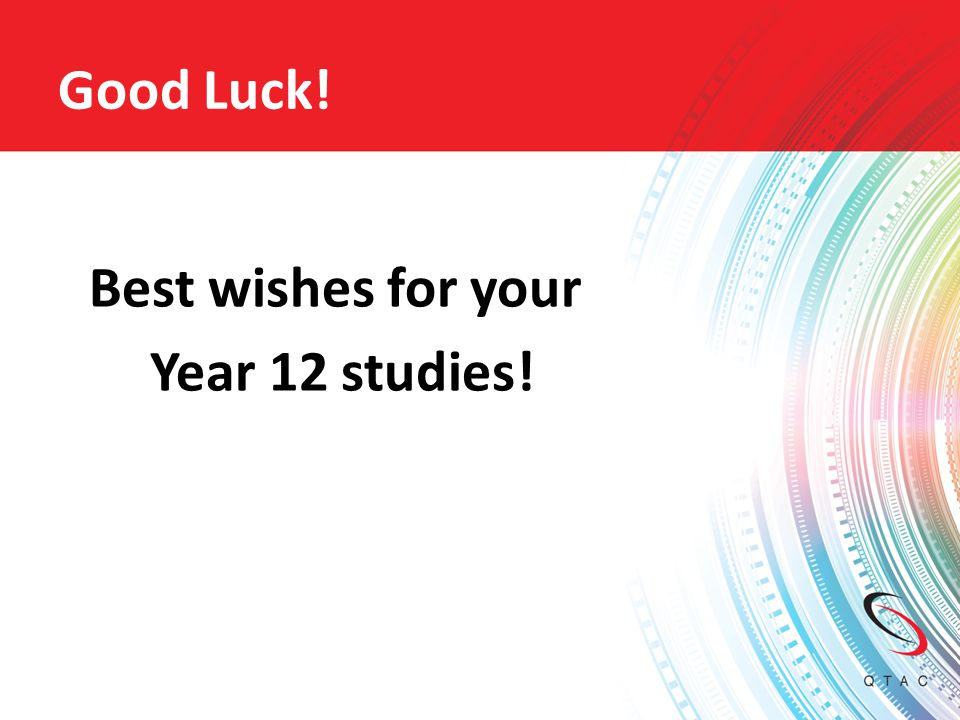 Best wishes for your Year 12 studies!