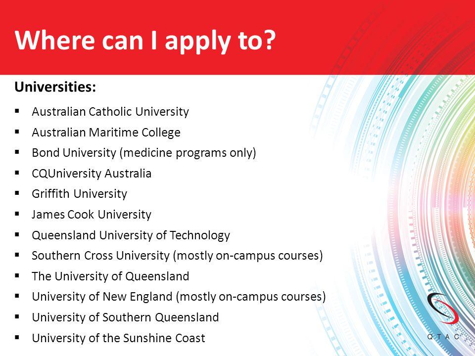 Where can I apply to Universities: Australian Catholic University