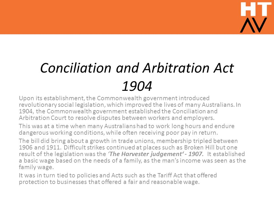 Conciliation and Arbitration Act 1904