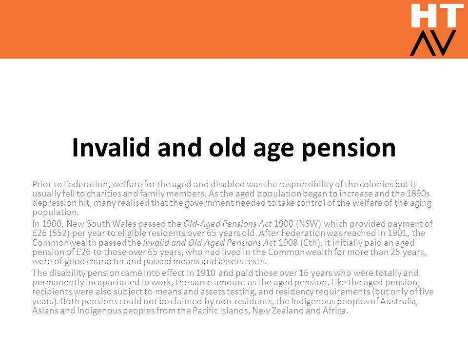 Invalid and old age pension