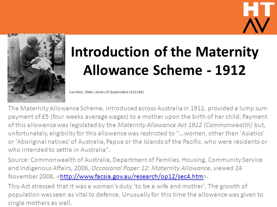 Introduction of the Maternity Allowance Scheme - 1912
