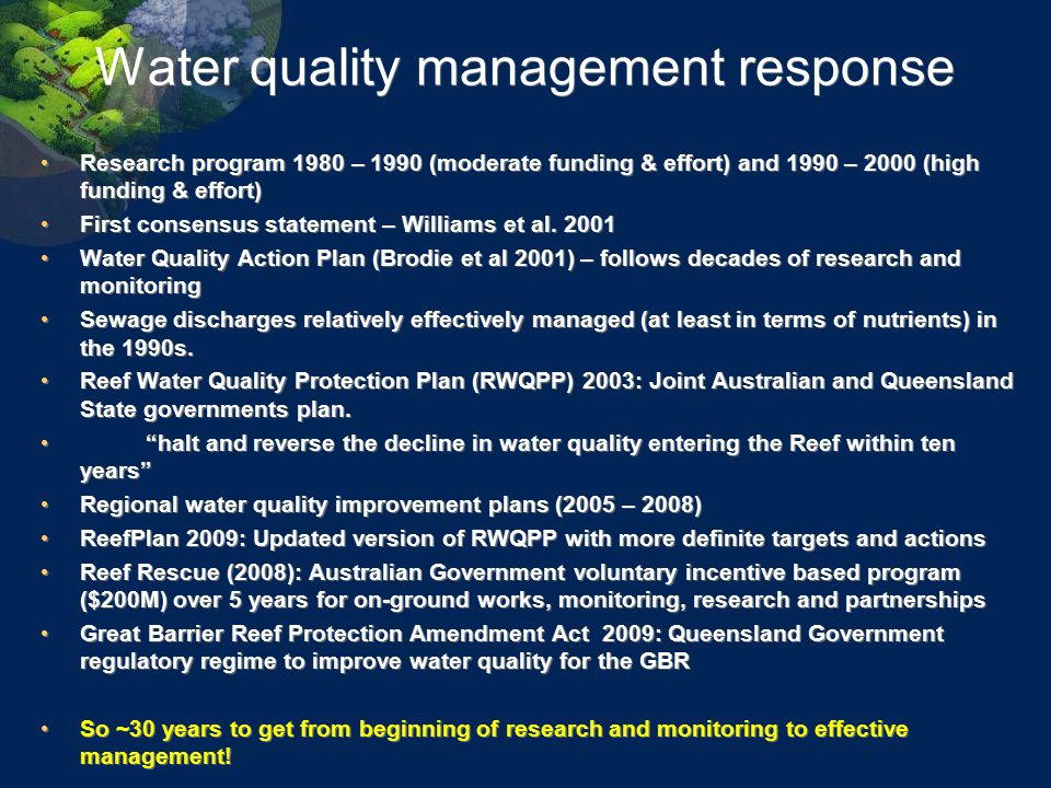 Water quality management response