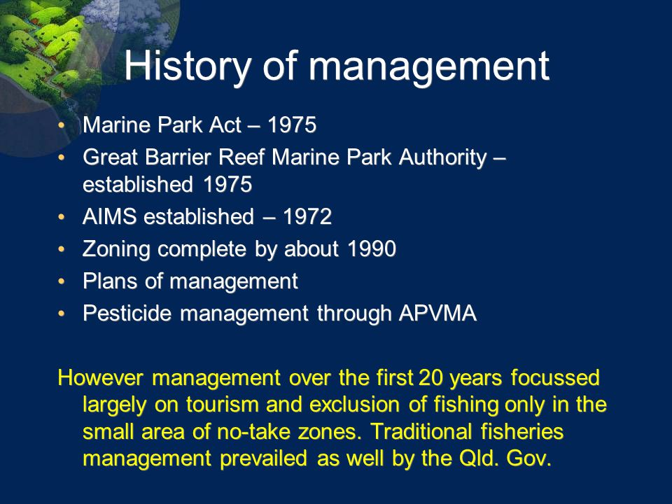History of management Marine Park Act – 1975