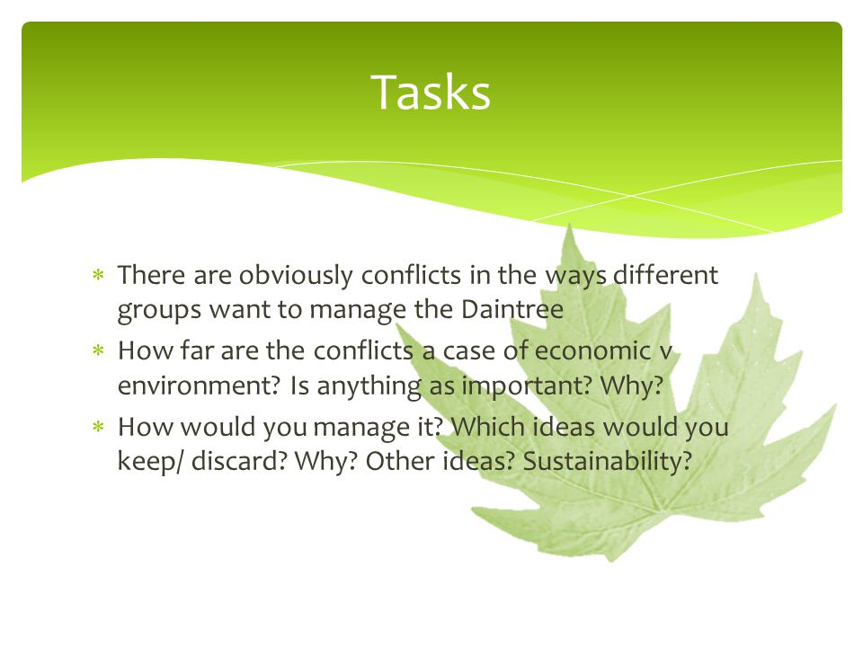 Tasks There are obviously conflicts in the ways different groups want to manage the Daintree.