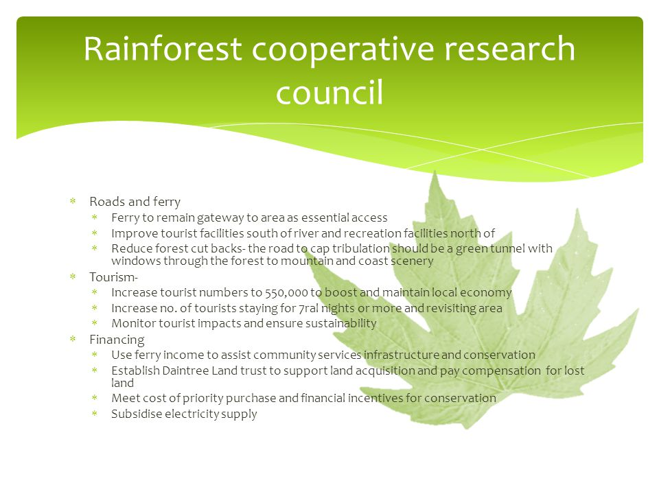 Rainforest cooperative research council