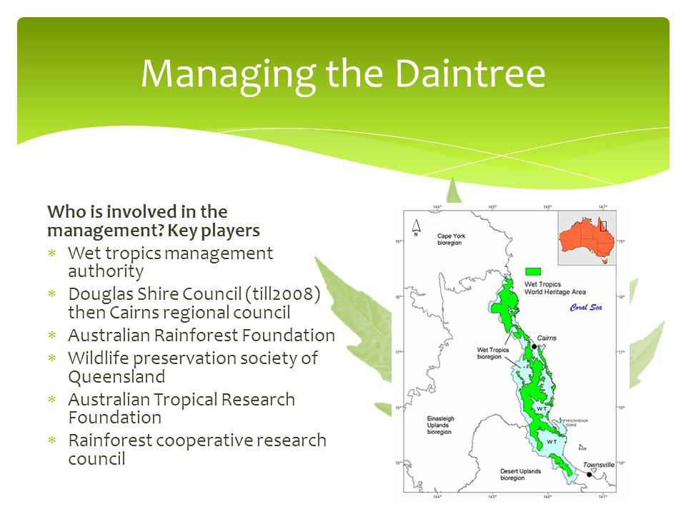 Managing the Daintree Who is involved in the management Key players