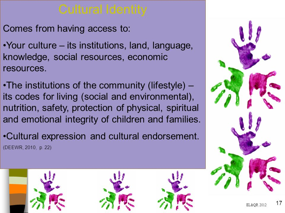 Cultural Identity Comes from having access to: