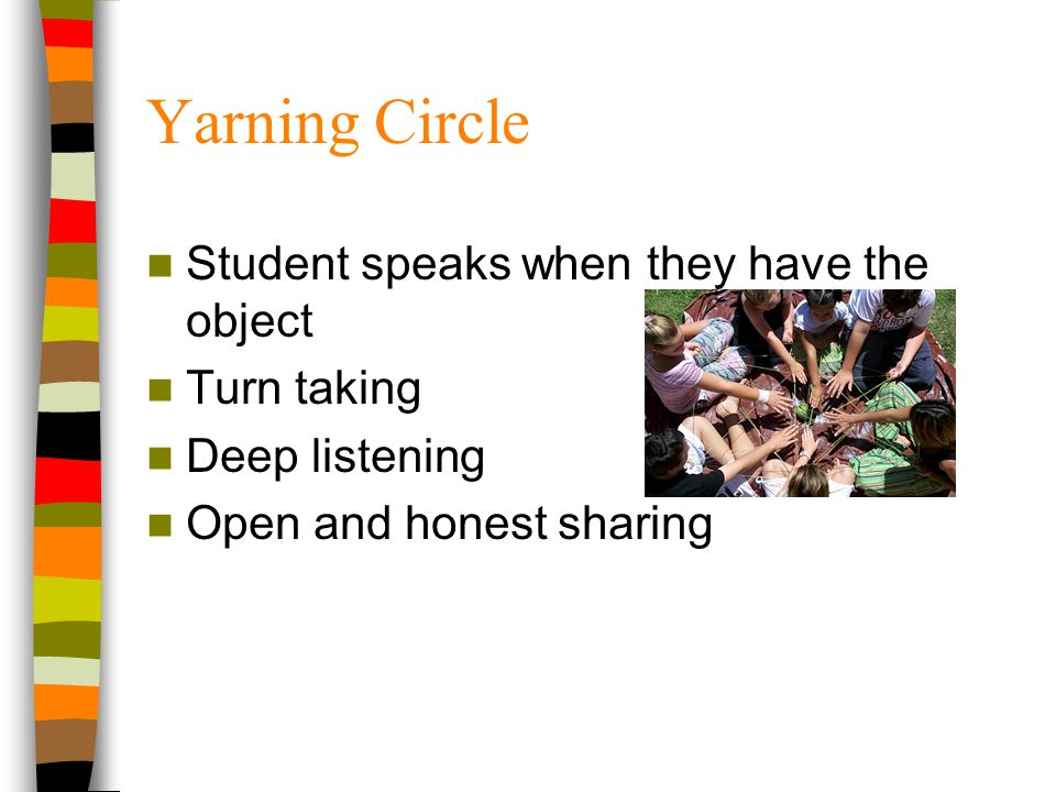 Yarning Circle Student speaks when they have the object Turn taking