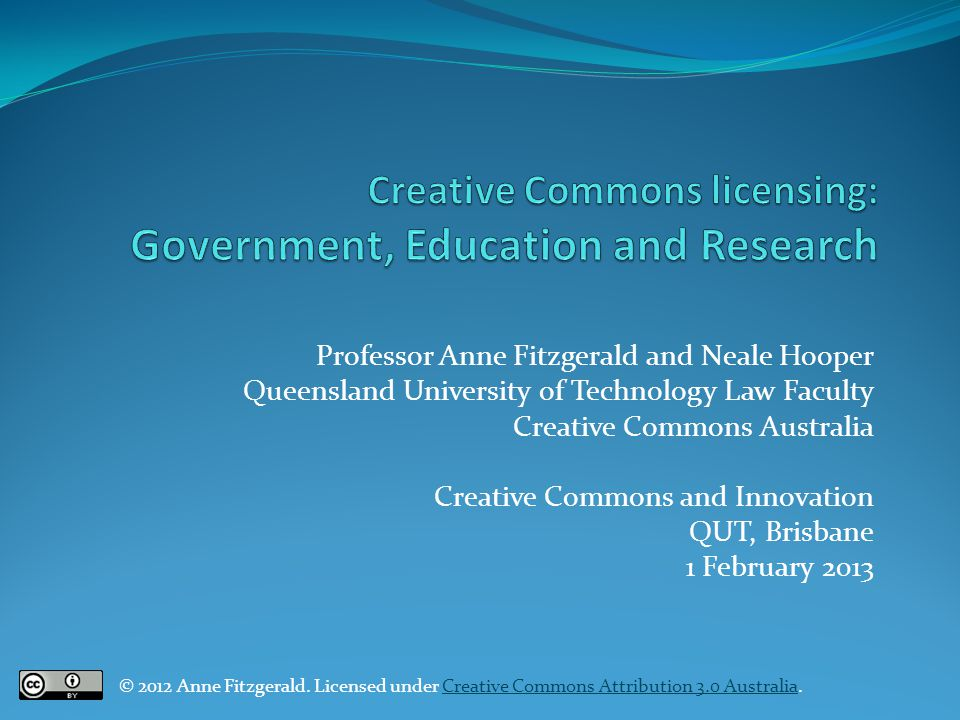 Creative Commons licensing: Government, Education and Research