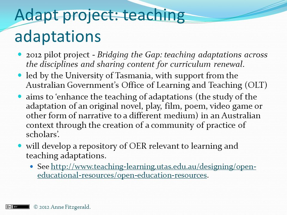 Adapt project: teaching adaptations