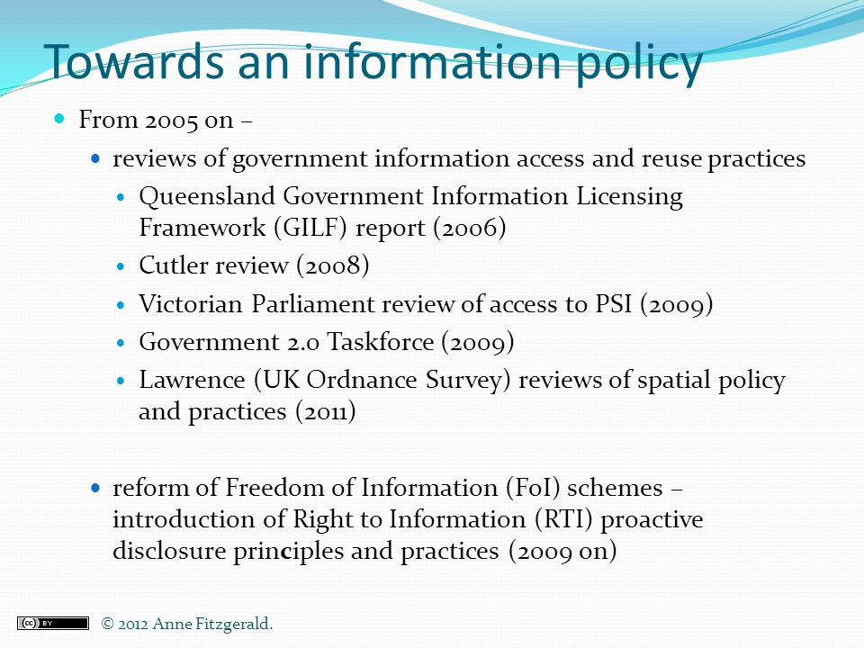 Towards an information policy