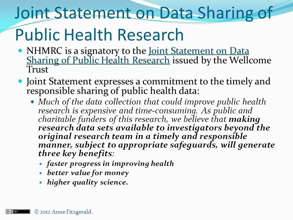 Joint Statement on Data Sharing of Public Health Research