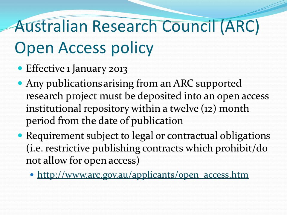 Australian Research Council (ARC) Open Access policy