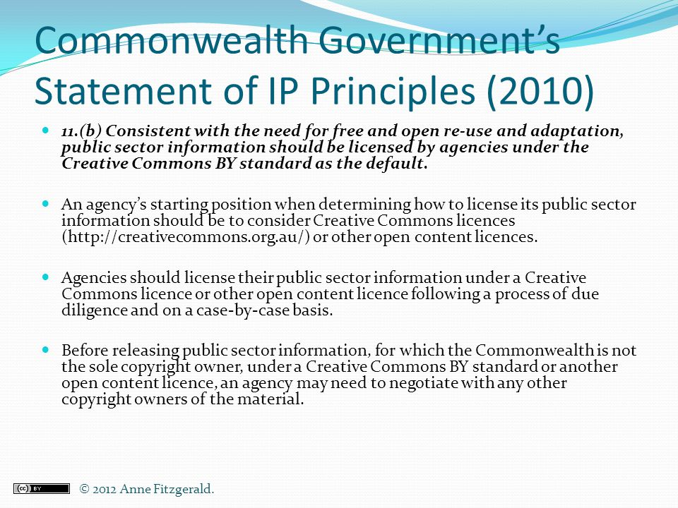 Commonwealth Government's Statement of IP Principles (2010)