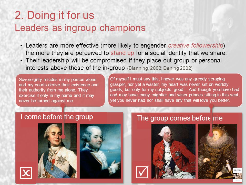 2. Doing it for us Leaders as ingroup champions
