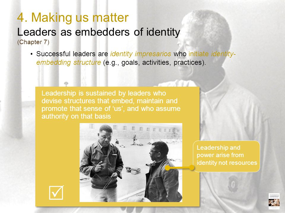4. Making us matter Leaders as embedders of identity (Chapter 7)