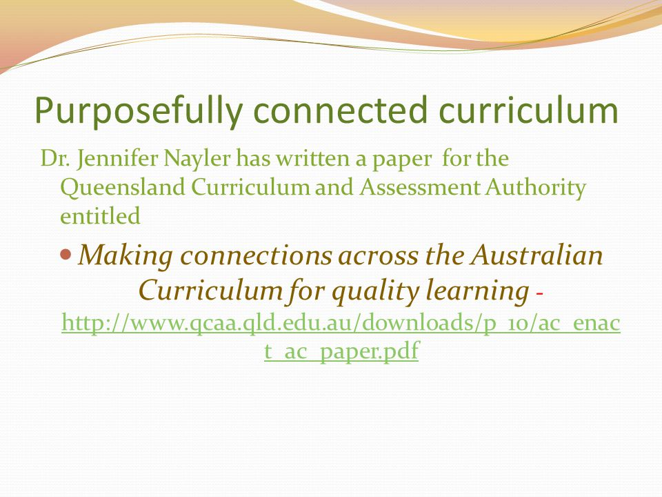 Purposefully connected curriculum