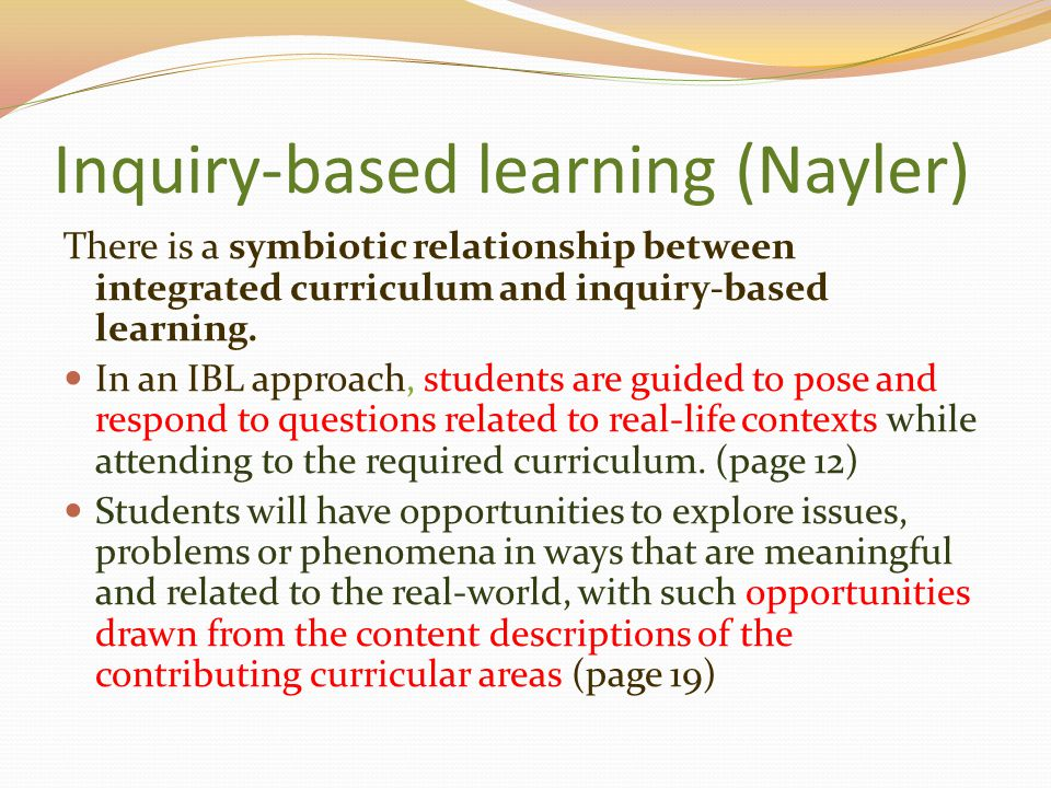 Inquiry-based learning (Nayler)