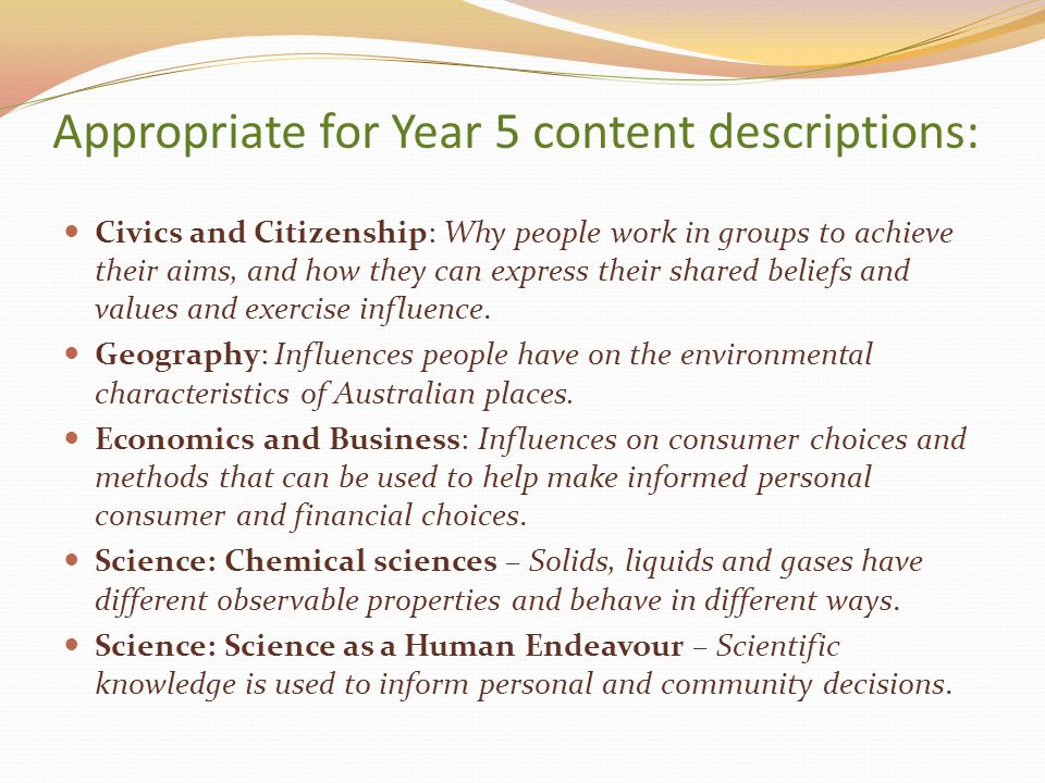 Appropriate for Year 5 content descriptions: