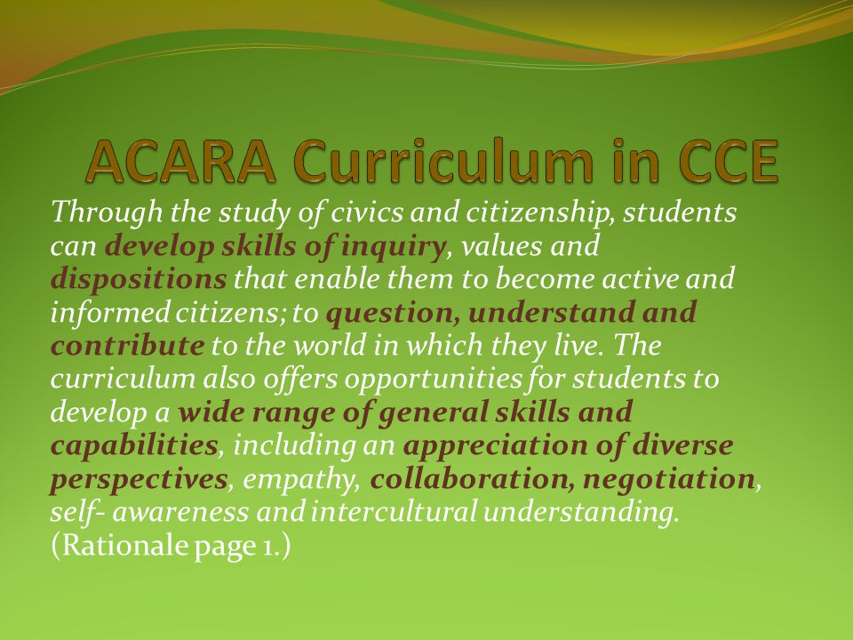 ACARA Curriculum in CCE