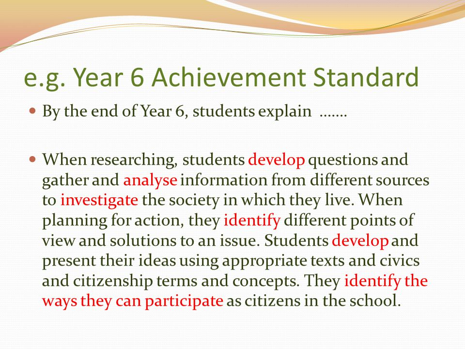 e.g. Year 6 Achievement Standard