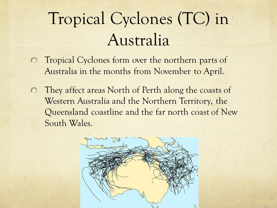 Tropical Cyclones (TC) in Australia