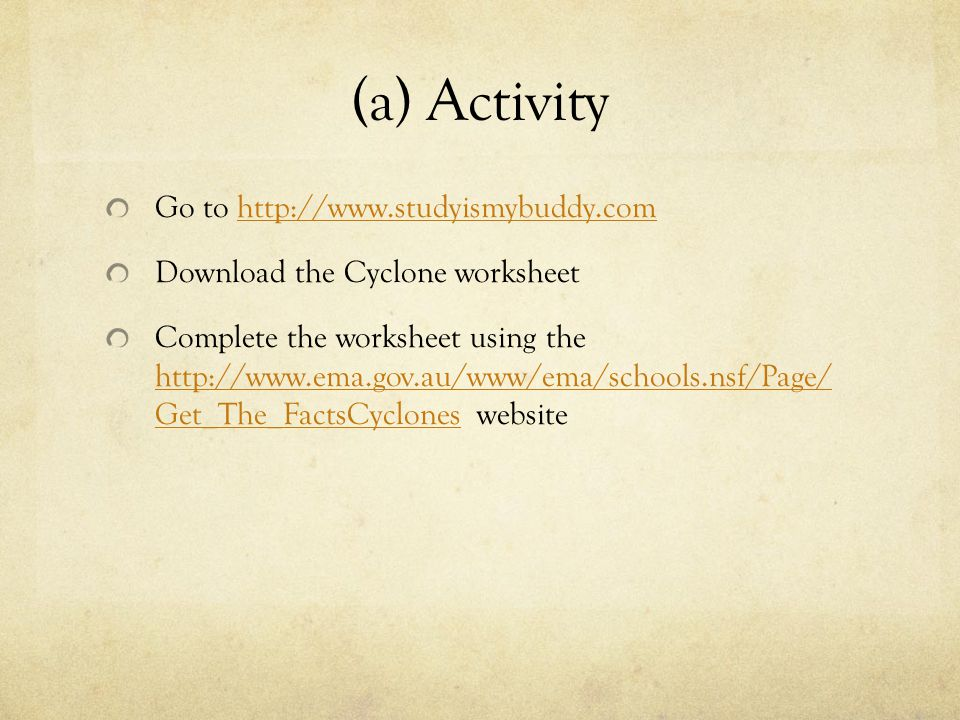 (a) Activity Go to http://www.studyismybuddy.com