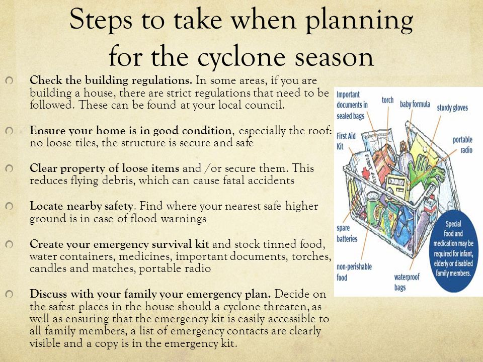 Steps to take when planning for the cyclone season