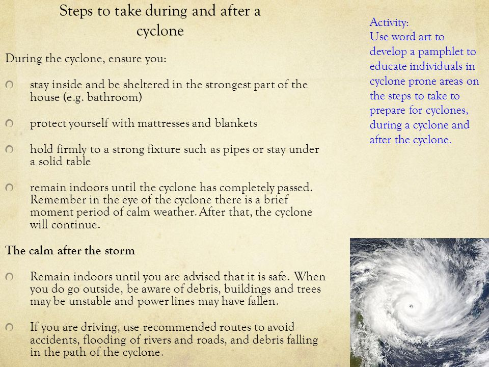 Steps to take during and after a cyclone