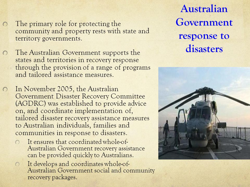 Australian Government response to disasters