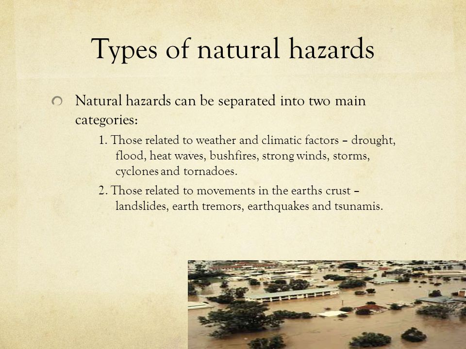 Types of natural hazards
