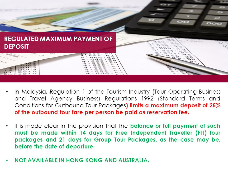REGULATED MAXIMUM PAYMENT OF DEPOSIT