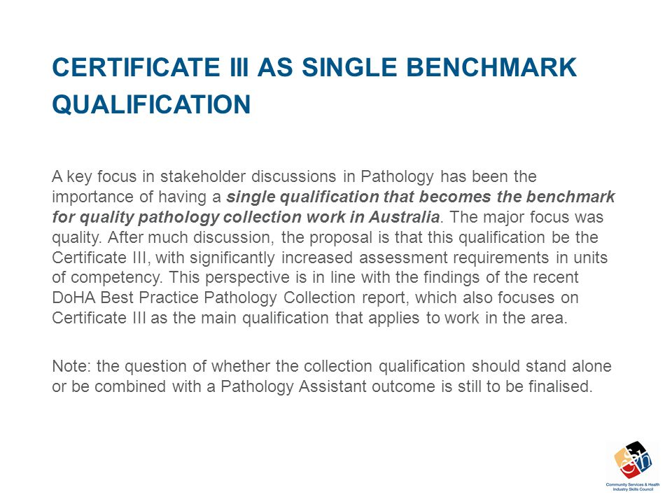 CERTIFICATE III AS SINGLE BENCHMARK QUALIFICATION