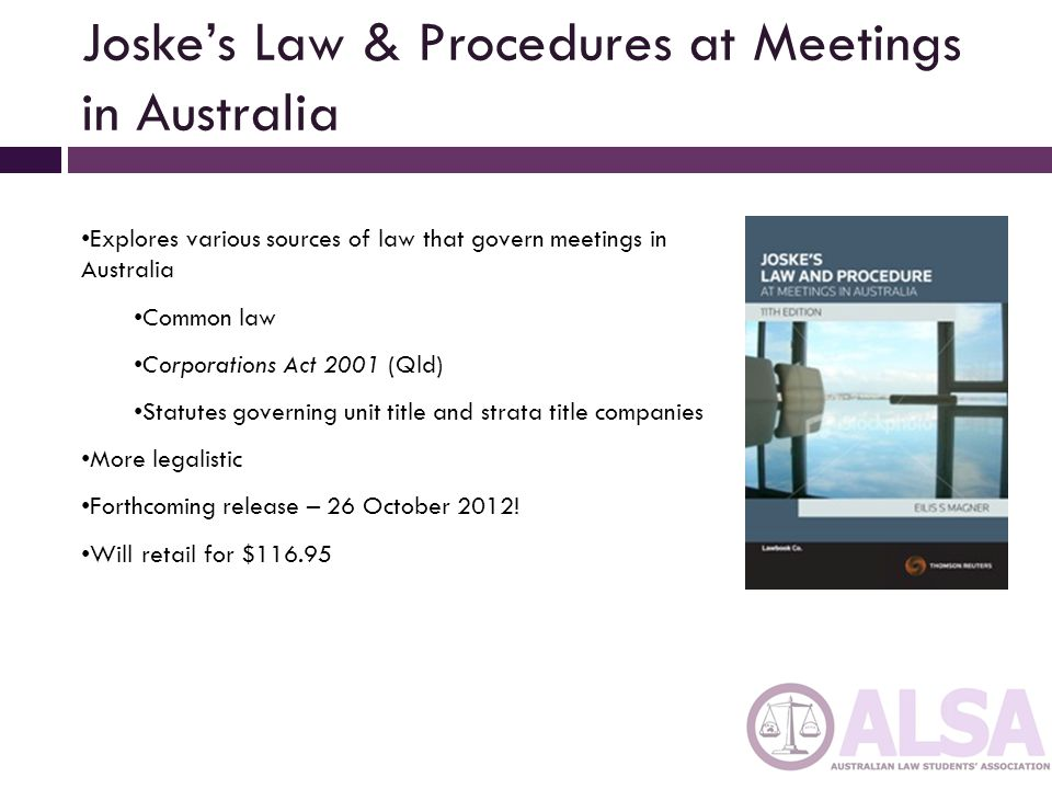 Joske's Law & Procedures at Meetings in Australia
