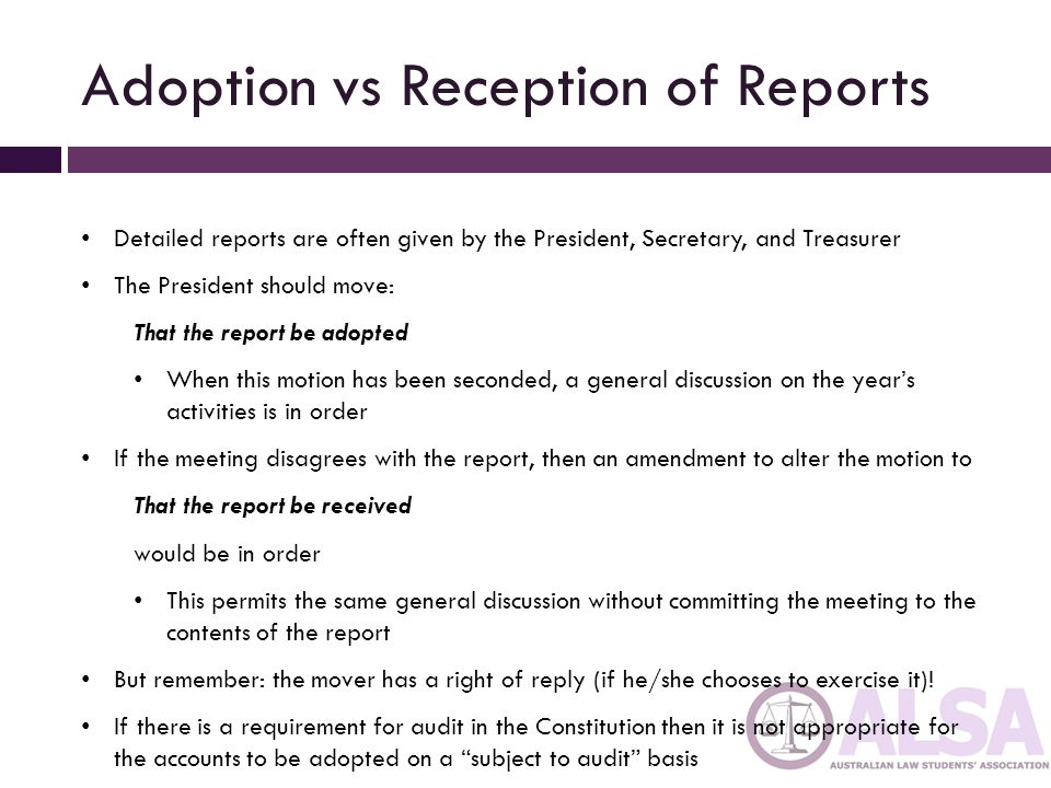 Adoption vs Reception of Reports