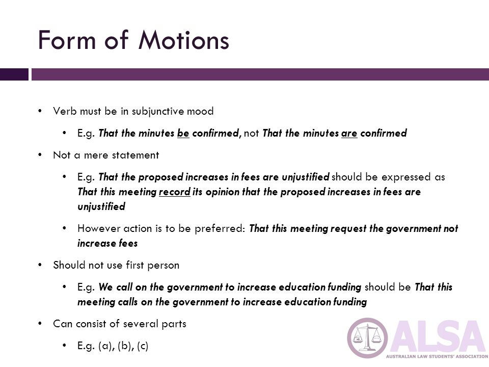 Form of Motions Verb must be in subjunctive mood