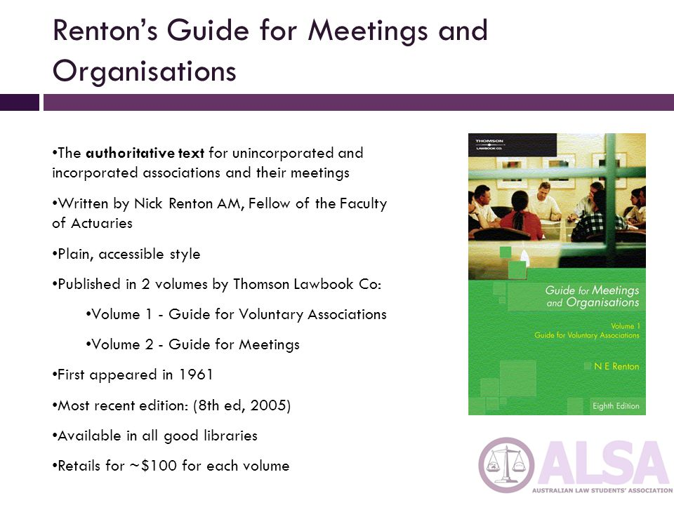 Renton's Guide for Meetings and Organisations