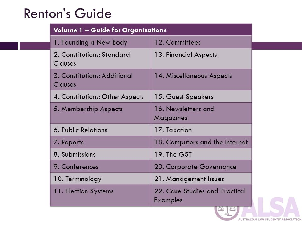 Renton's Guide Volume 1 – Guide for Organisations