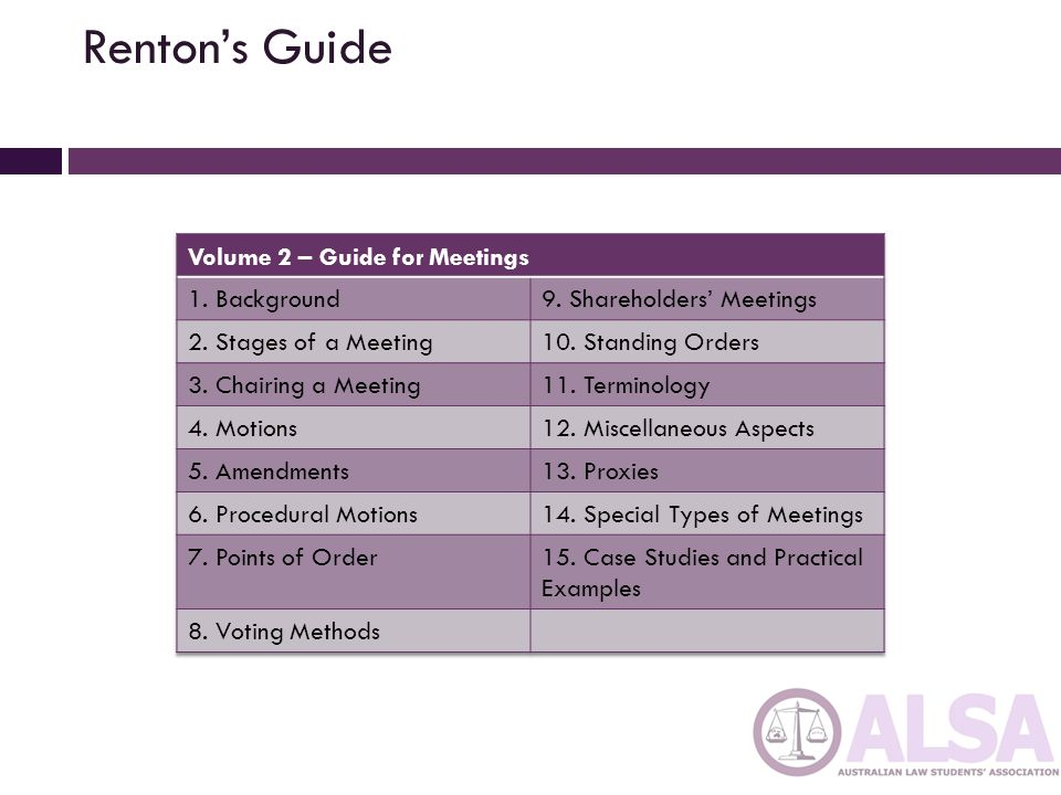 Renton's Guide Volume 2 – Guide for Meetings 1. Background