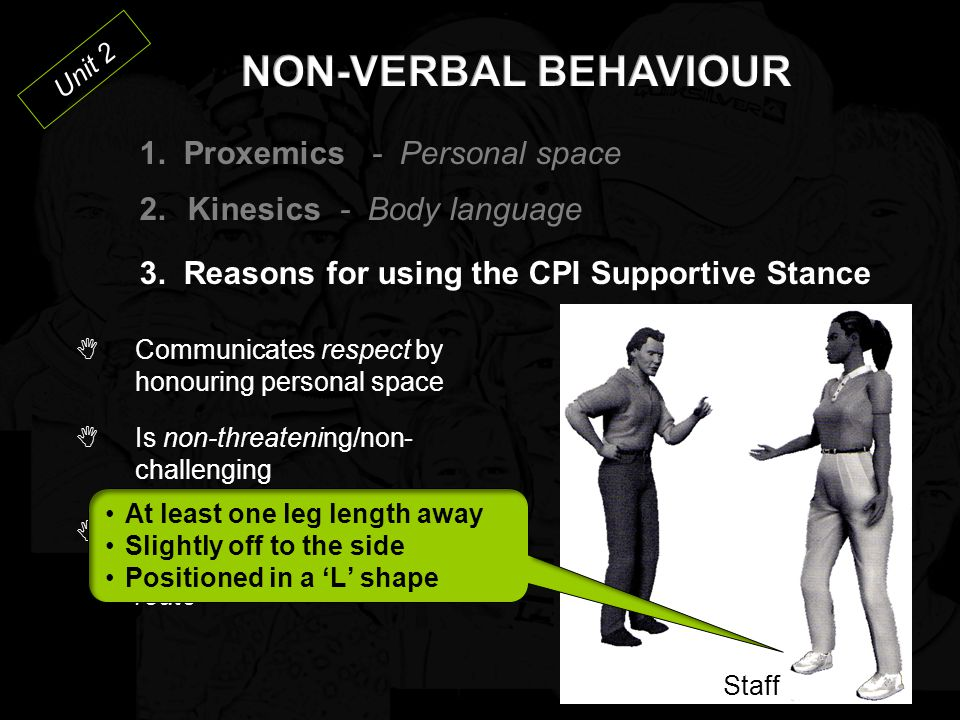 NON-VERBAL BEHAVIOUR 1. Proxemics - Personal space Kinesics