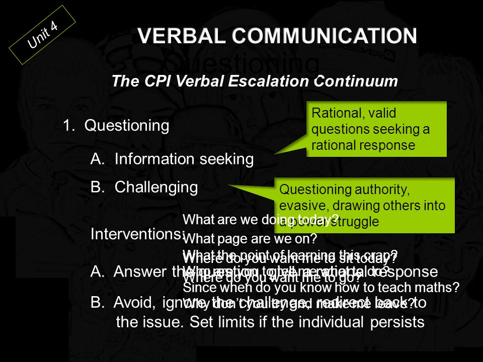 Questioning VERBAL COMMUNICATION The CPI Verbal Escalation Continuum